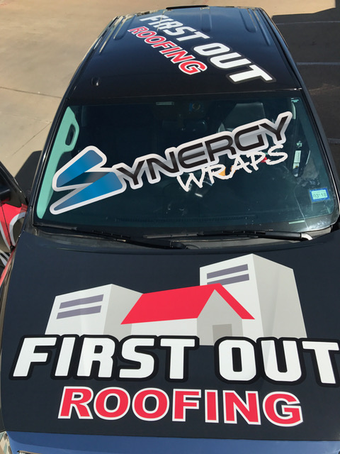Truck Wrap Hood - First Out Roofing Lake Dallas