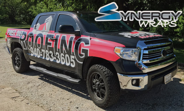 Truck Wrap Right Side - First Out Roofing Lake Dallas