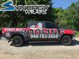 Truck Wrap Side - First Out Roofing Lake Dallas